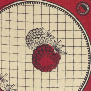 Red and black quarter of a printed scarf. Shows plain red field and border with scallop shape pattern of berries on grid ground.