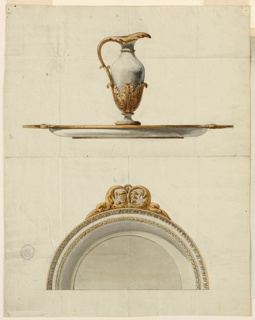Design for a pitcher and basin intended to be executed in partial gilt silver. Elevation and view of rim with gilded leaf decoration.