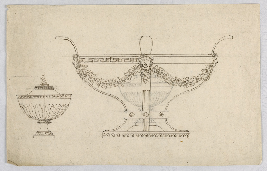 Horizontal rectangle. Design for a salt or pepper cellar. At right is the elevation: below is a base decorated with a wave ornament, with part of a sphere in the center. Four curved legs stand upon it. Above, the legs lead to masks, supporting vine festoons.They are connected by a moulding with a fret band. Above are slopes as handles. Upon the sphere stands a tureen. Its elevation is drawn at left. The lower part of its body is covered by a row of leaves. On top is a figure.