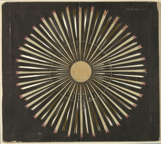 Magic lantern slide, optical toy. On black field, white disk at center, surrounded by ring of pierced stars. Radiating toward circumference of the pattern are thirty-two white rays, alternating with thirty-two pierced clear rays. White rays are tinged with pink at their notched extremities.
