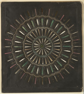 Magic lantern slide, optical toy. On black field, circular design composed of four concentric series of rays of various notched or serpentine outlines, with three intervening concentric serpentine bands. Yellow, green, and pink transparencies.