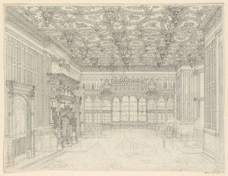 Drawing, Gothic Country House: Dining Room, ca. 1875