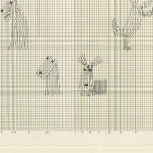 Scotties, skye terriers and other long-haired small dogs in various positions appearing as if in cages formed by the squared paper. Fine holes punched along right margin.