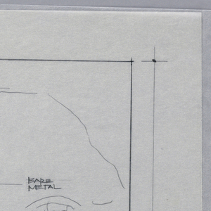 A scale drawing of the head of a woman for a clock. Below, plan of details for the clock. Text in graphite throughout.