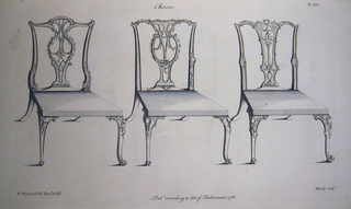 "Page from ""The Gentleman and Cabinet-Maker's Director"" 2nd edition.  Three chairs with unornamented seats.  The legs and backs are ornamented in the Rococo style with slightly varying details.  The legs and basic structure are very similar."