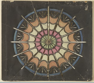 Magic lantern slide, optical toy. On black field, circular sixteen-part patera with pierced rays and transverse ellipses formed of pierced circles. White star at center, surrounded by circles of green, pink, white, and light brown, with a band of blue surrounding the design.
