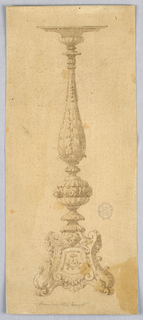 Design for a candelabrum. Scrolling base with shield crowned with a cherub. At center, a lobed sphere with three cherubs. Above, a baluster form with acanthus leaves.