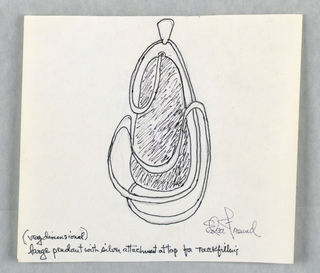 Drawing, Design for a Large Pendant, ca. 1960–65