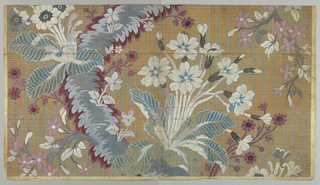 Pattern of fantastic flowers and leaves painted in blue, blue-green, purple and white with a striped orange background, all painted on a printed grid. Verso contains hand written information pertaining to the construction and manufacture of the textile. See Curatorial Notes field.