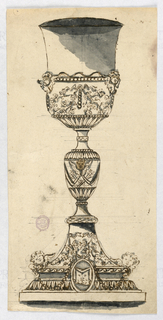 Elevation of a chalice. Two cherubs at base, two at cup and one at center baluster.