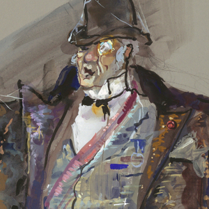 A figure of a man dressed in gentleman's garb with top hat and cane, raising a glass. Behind him a coat hangs on the wall.