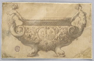 Elevation of a bowl with dolphin feet. Body decorated with a mask and scrolling cartouche enclosing a classical scene. Handles composed of arching mermaids.