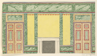 Horizontal composition illustrating an elevation of an interior wall with a fireplace at center and two tall doorways at either end.  The walls above and flanking the fireplace are yellow, while the doors indicate graining and colored panels. Indication of green, striated marble in the overmantles and wall frieze.