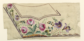 Lower left section of a waistcoat. Below the pocket, rising from the border, large flower motifs. Outline of pocket, with no design indicated.