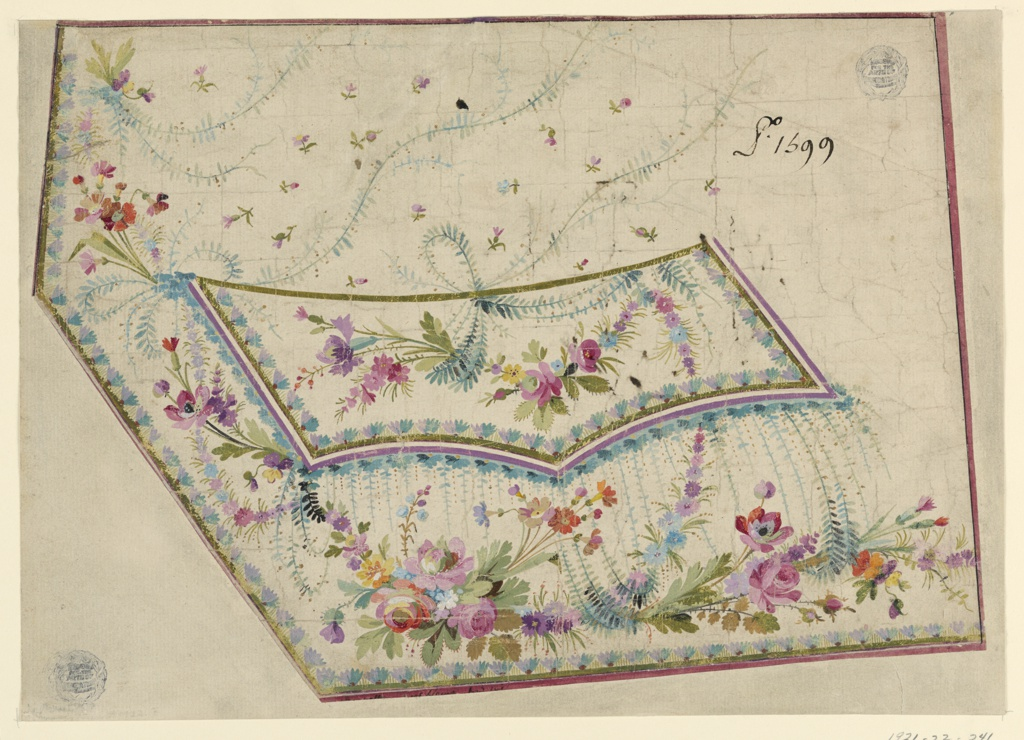 Waving boughs and flowers decorate the pocket flap and lower left corner of waistcoat. Framing border with tiny boughs. Reverse: sketches of bowl in wreath and festoons and corner motif.