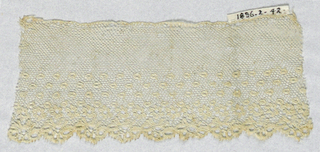 Lille-style border with a scalloped edge. Minute open-centered rosettes and eyelets clustered near bottom.