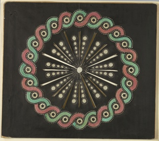 Magic lantern slide, optical toy. On black field, white disk at center from which radiate alternating long and short rays, between which are chains of white ellipses growing larger towards circumference of design. At circumference, a guilloche band in red and green, with white disks.