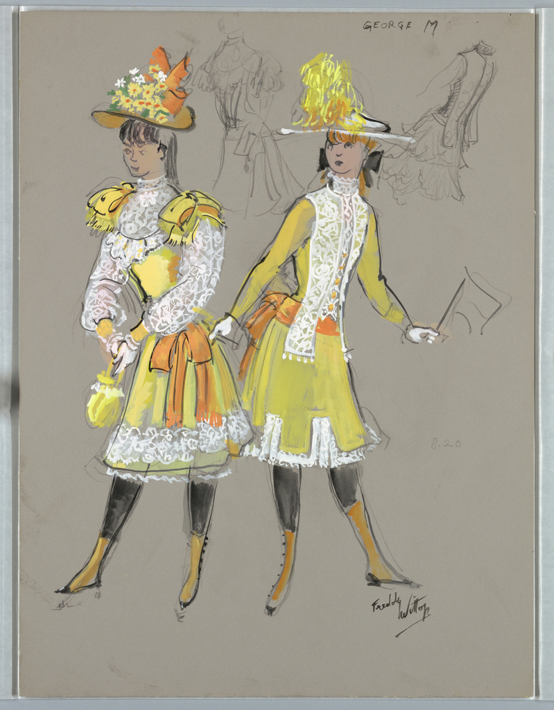Vertical Rectangle. Two young girls in short yellow dresses, white lace accents, alrge hats. One at right holds small flag.