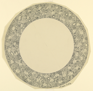Design for the border of a plate with allover decoration of flowers, stars.
