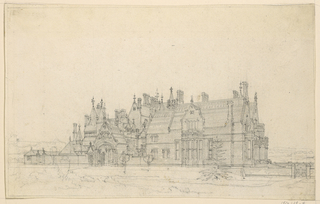 Drawing, Gothic Country House: Main Facade, ca. 1875