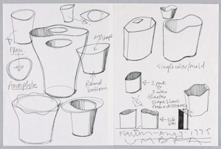 """Two sheets joined together with """"sticky"""" tape showing eleven different forms of waste can including the """"Garbo"""", elliptical """"eye,"""" amorphic and hourglass shapes, some in plan and most in perspective views.   The """"Garbo"""" title is play on """"garbage"""" referring to the function of the object, and """"Greta Garbo"""" alluding to the actress's famous profile mirrored in the shape of the design."""