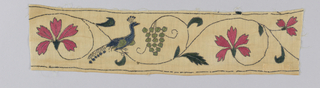 Fragment of a border with a peacock in a scrolling vine and flower motif. Single cluster of green berries or grapes.