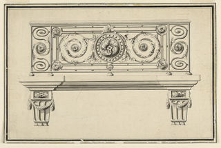 Horizontal rectangle. Frontal elevation of a wrought-iron balcony supported on carved stone brackets. The central motif consists of a rosette within a studded circle, and vegetal arabesques at either side. At the ends, two vertical panels with similar motifs.