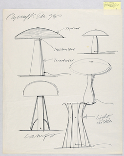 Drawing, Five Table Lamp Designs, for Plycraft