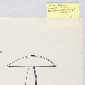 "Left upper corner, design for a mushroom-shape lamp intended to be executed in plywood, stainless steel, and turned wood, with wood grain effect on shade.  Right side of sheet, two variations on same mushroom form with different bases.  Lower half of sheet, two further experiments with the same form, one with a rounded shade and the other in a ""wigwam"" form with no shade on top and the lamp inside the body."