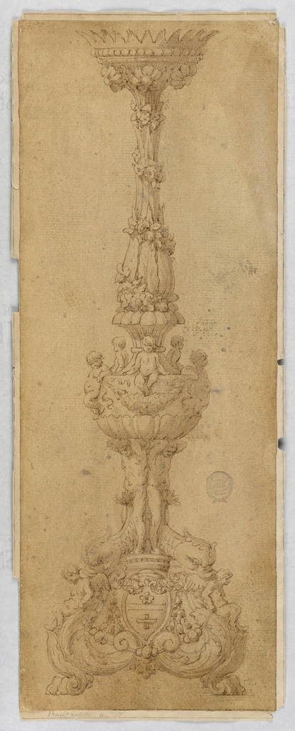 Lion paw feet at bottom. Above this, putti and dolphins surround a coat-of-arms. Ignudi support a shell hung with swags, upon which sit five putto. At top, a crowned baluster form with spiraling flowers.