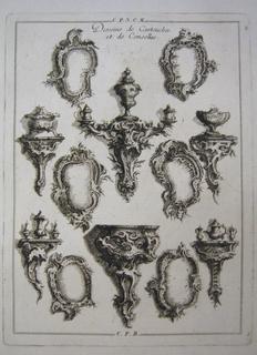 Print, Divers Couronnemens de Panneaux de Menuiserie, 1745