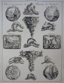 Print, Design for Two Snuffboxes, Three Watchcase Lids, and Three Wall Brackets, 1745