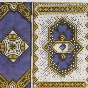 Quarter of a printed scarf in purple, yellow, and black. Border of compartmentalized geometric pattern and field showing diamond grid.
