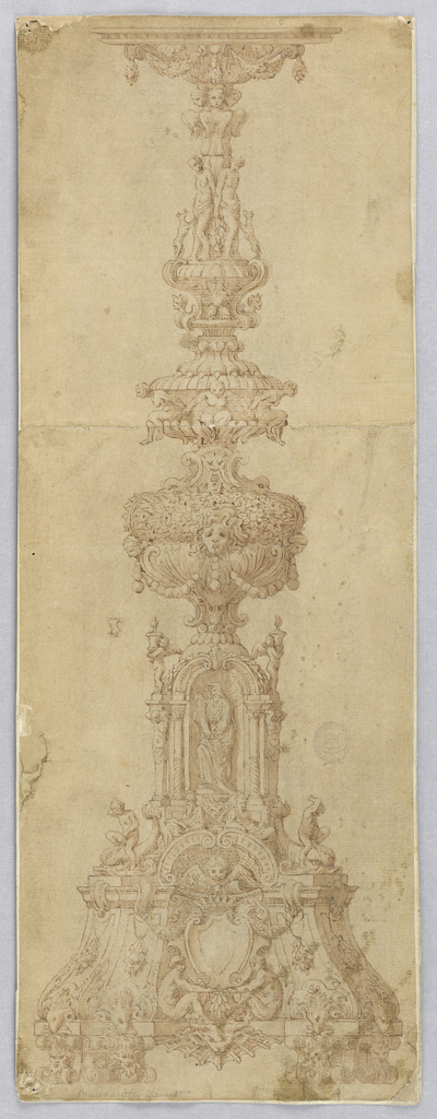 Design for a candelabrum. At center, a niche with figure, flanked by terms and putti carrying urns. Above, a man and woman, each with a dog. At base, scrolling feet with masks. A nude mad and woman seated below a crowned shield.