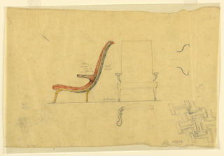 """Design includes a side view of a curved red chair on the left and a frontal view of the chair on the right in graphite. Both are drawn on top of a thin horizontal line. Verso: a group of interlocking """"I"""" shapes on the bottom left and a smaller group of interlocking """"T"""" shapes on the bottom right."""