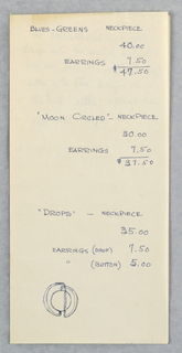 Drawing, Letter with Jewelry Designs and Prices, ca. 1965–70