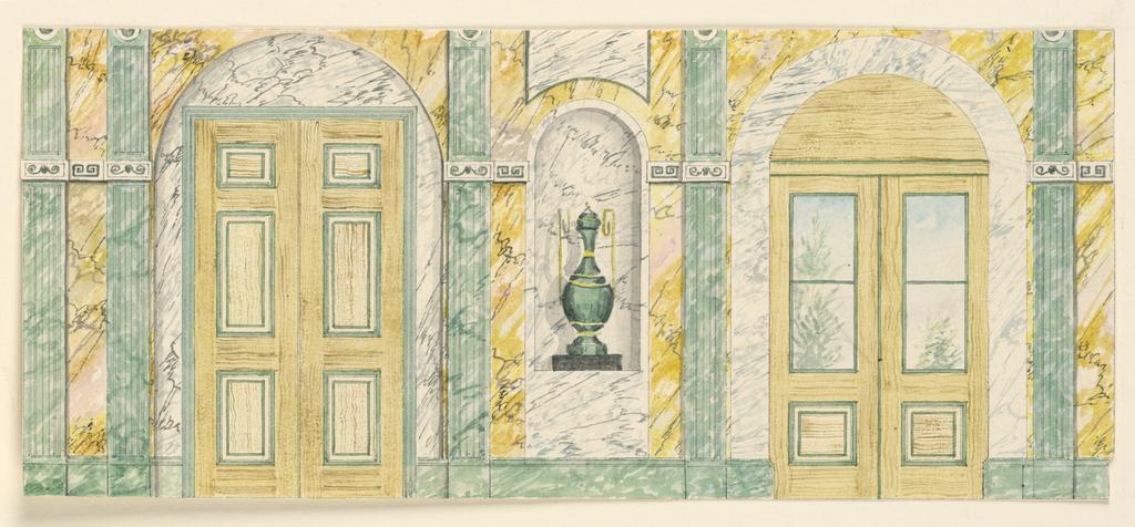 Horizontal Rectangle: Elevation of a marbled wall, urn in a niche center, wooden door at left, door with glass panes at right.