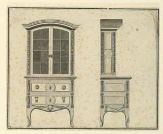 Front elevation, left, and side elevations, right, of a cabinet in two sections. Above, a cupboard with glass doors and two drawers below.