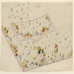The lower left is shown. Plants and leaves grow from the edges of the waistcoat and from the lateral and bottom edges of the flap of the pocket. The fields show small scale rose boughs and point motifs.