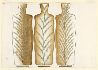 Design for three vases in a row, in tan decorated with hatch marks that are meant to be plants.