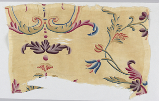 Small section of a coverlet or hanging showing parts of delicately drawn twining stems, leaves, flowers, symmetrical leaf volutes, and graduated dots, in shades of purple, red, blue, yellow, orange, and green silk embroidered on an undyed ground with a small diamond-shaped diaper pattern.