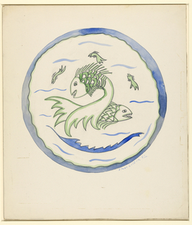 Possible design for a dish depicting green fish with sharp teeth, framed by blue tail-like border.
