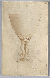 Design for a glass supported by nude figures with upstretched arms.
