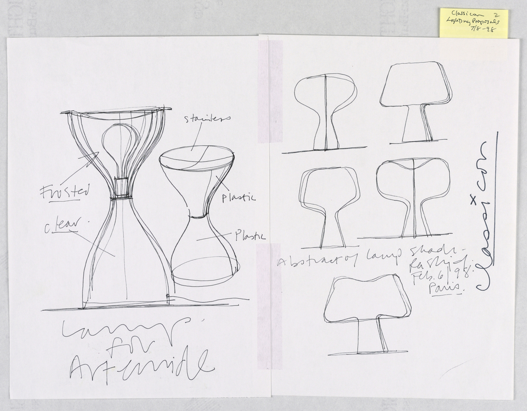 """Left-hand sheet:  two designs for """"Garbo"""" variant shape lamp; one an elevation showing the placement of the light bulb and the upper half intended to be executed in an unspecified material with a frosted finish and the lower half in a clear finish; the other a perspective view to be executed in stainless steel and the body in plastic.  On the right-hand sheet are five lamp profiles in different forms of the """"mushroom"""" shape."""