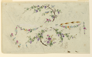 """Left bottom corner: """"Running dogs"""", from which, alternately, flowers and leaves and a bunch of flowers in the bottom center rise, are at the edges. A vine stem with bunches of blue grapes in a scrolling scheme rises from the bottom into the pocket. A bird and a fringed cloth upon boughs. Flower festoons are suspended from a rose bough in the bottom center of the pocket. The greater part of a garland under the pocket has been invalidated by white color."""