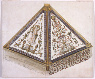 Two out of eight sides are shown form the inside.  Supported by poles, of which the top of one is shown.  Their capitals are connected by a frieze with a crest border from which lambrequins are suspended.  The left one of the upper triangles shows a girl carrying a flower basket upon a pedestal.  A candelabrum decorates the right one, including swans, a peacock, and other birds, and a putto holding a garland.