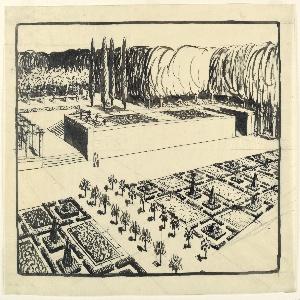 Perspectival view of a garden plan.