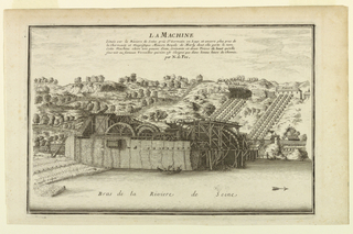 """View of the Machine de Marly from the banks of the Seine river and the hill beyond showing """"balangers.""""  Parts of structure labeled."""