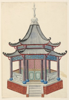 Vertical rectangle. An octagonal structure standing on a podium, columns supporting the two-tiered pagoda roof. A narrow porch surrounds the enclosed inner cove of the building. A short flight of steps leads to the entrance of the pavilion.  Original album associated with this collection still exists.  See 1948-40-1 accessory