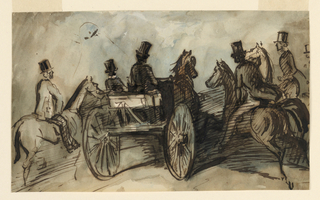 Horizontal rectangle. A gentleman driving a two-wheeled dog cart with a groom. A gentleman on horseback at his left and two on his right. All male figures wearing high silk hats and seen in three quarter back view.